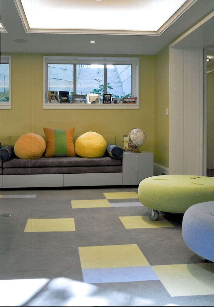 Carpet Tiles Lowes   Contemporary Kids  and Accent Color Carpet Carpet Tiles Color Gray Grey Ottoman Sofa Yellow Yellow and Blue