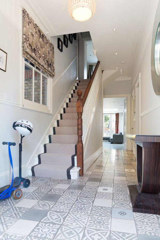 Carpet Tiles Lowes   Contemporary Staircase  and Blind Modern Ceiling Lighting Open Floor Plan Patterned Floor Patterned Floor Tiles Patterned Tiles Stair Runner Vanity Lighting Wall Mirror White Interior
