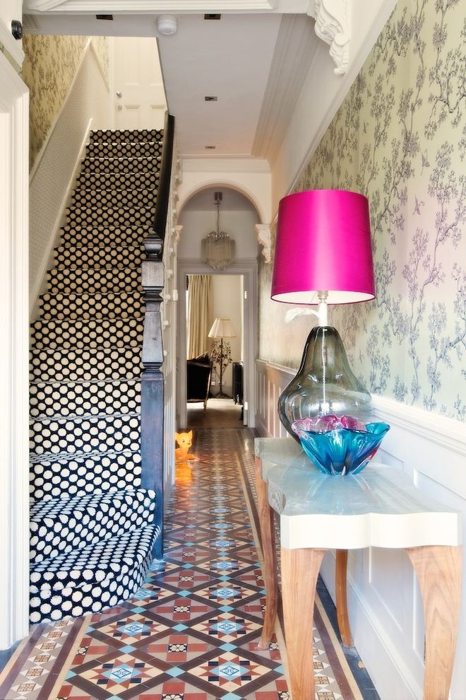 Carpet Tiles Lowes   Eclectic Staircase Also Colour Electic Hallway Floor Tile London Residence Spotted Carpet Spotty Spotty Carpet Staircase Staircase Carpet Tall Table Lamp Tiled Hall Vintage