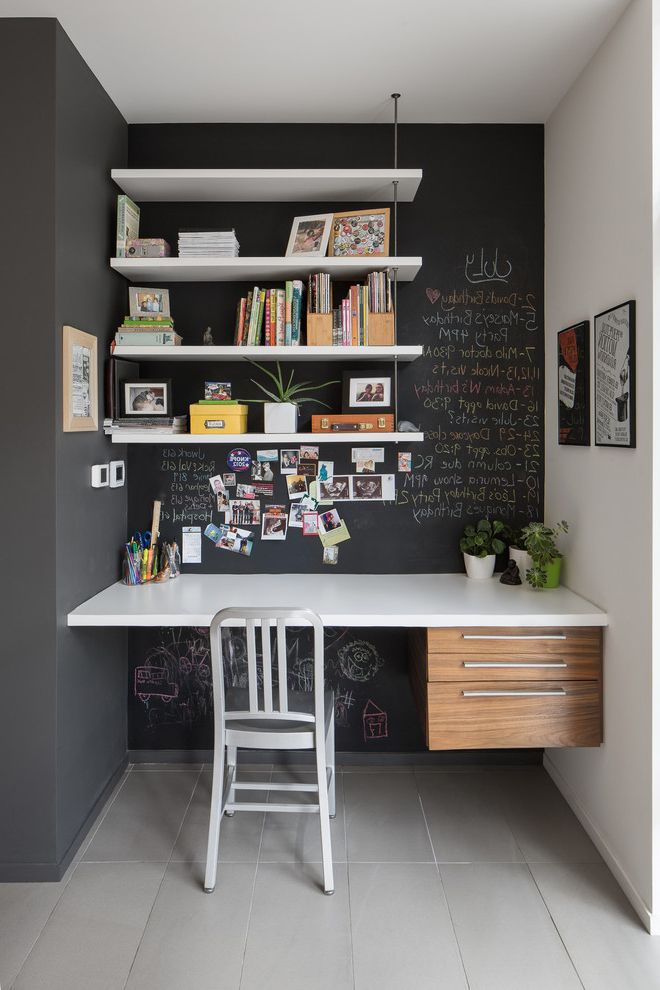 Chalkboards for Sale   Contemporary Home Office  and Box Clean Floating Desk Floating Shelves Glass Gohba Award Winner Gray Floor Tile Green Green Home of the Year Hanging Shelves Infill Leed Leed Platinum Minimal Sustainable Urban White Desktop Wood