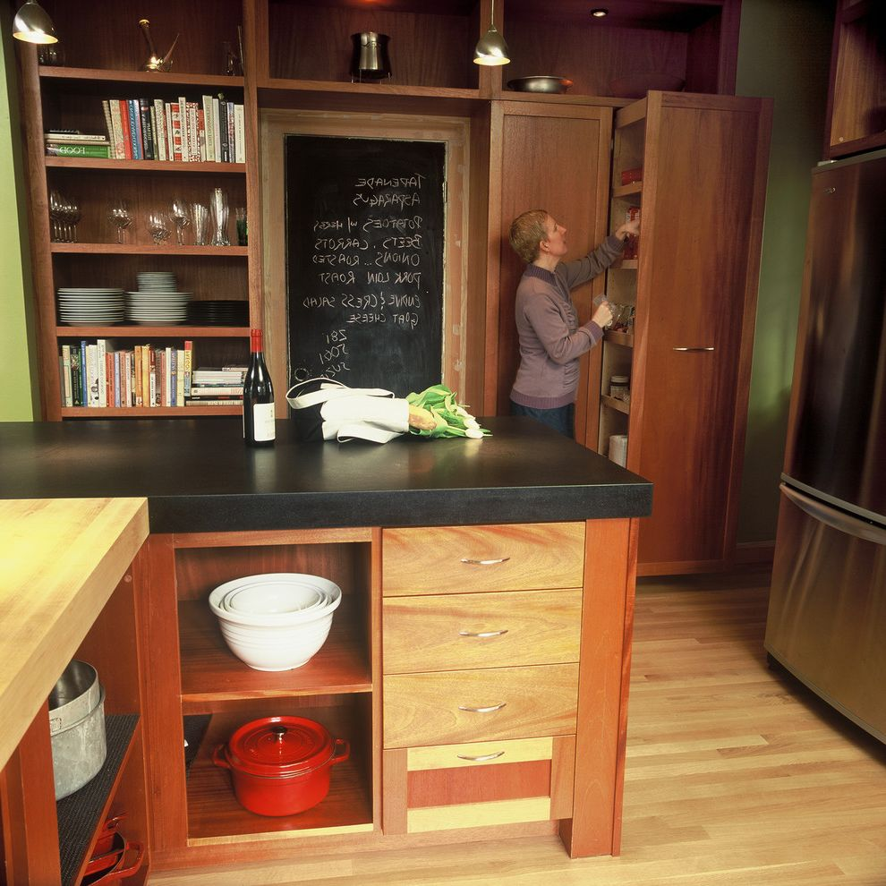 Chalkboards for Sale   Contemporary Kitchen Also Built in Shelves Butcher Block Countertops Chalkboard Wall Cookbook Shelves Kitchen Island Kitchen Shelves Wood Cabinets Wood Flooring