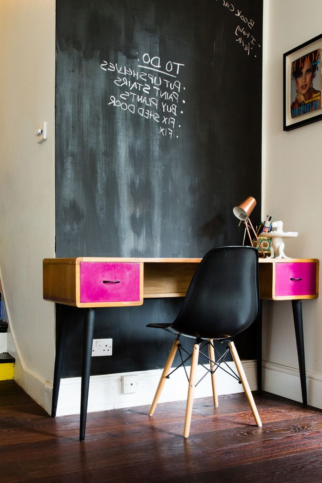 Chalkboards for Sale   Eclectic Home Office Also Chalkboard Paint Chalkboard Wall Desk Eames Office Pink Accent Study