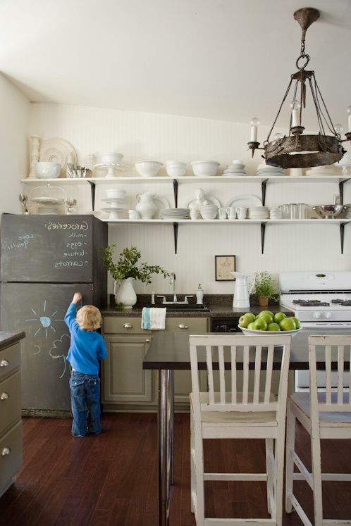 Chalkboards for Sale   Eclectic Kitchen Also Cabinet Color Kitchen Chalkboard Chalkboard Refrigerator Gray Cabinets Green Cabinets Kitchen Shelves Open Shelving Open Shelving in Kitchen Vintage Lighting