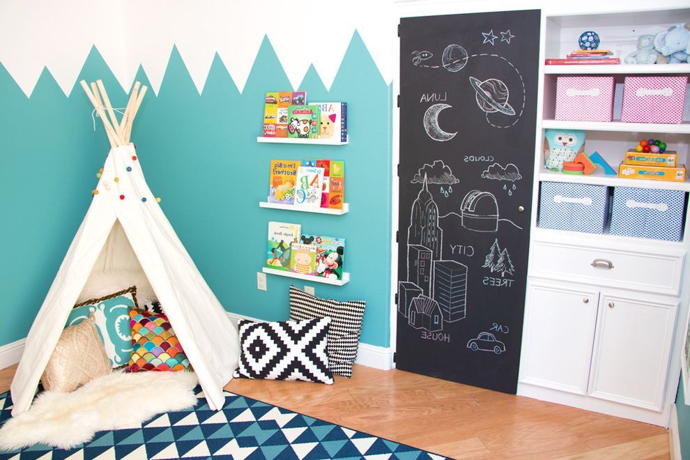 Chalkboards for Sale   Modern Kids  and Baby Boy Boys Bedroom Chalkboard Chalkboard Paint Eclectic Girl Girls Bedroom Girls Room Kids Mid Century Modern Nursery Playroom Teal Blue Wall Color Tee Pee Valance White Cabinets
