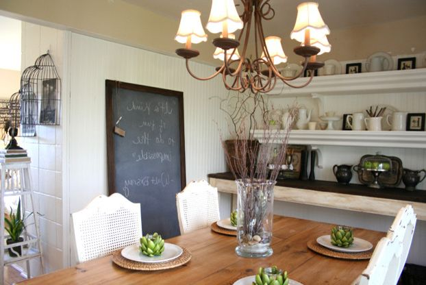 Chalkboards for Sale with Traditional Dining Room Also Beadboard Chalk Board Chalkboard Chandelier Farm Table Ironstone Open Shelving White Pottery