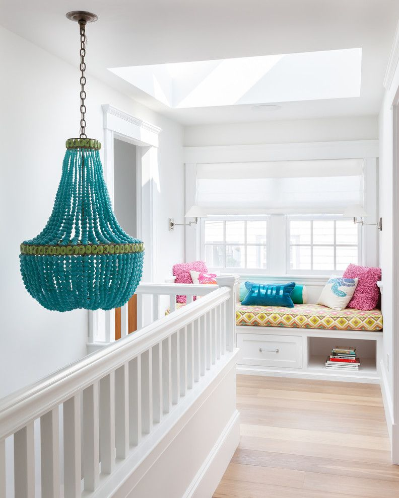 Chandeliers at Lowes   Beach Style Hall  and Bead Chandelier Blue Chandelier Built in Bench Diamond Pattern Pillow Love Pillow Pink Pillows Skylight Summer House Wall Sconces White Railing Window Seat