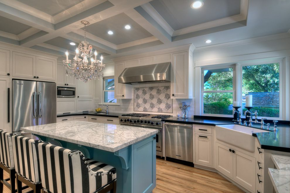 Chandeliers at Lowes   Traditional Kitchen Also Black and White Striped Counter Stools Blue Kitchen Island Bridge Faucet Bungalow Corner Sink Crystal Chandelier Low Back Counter Stools Stainless Dishwasher Stainless Hood