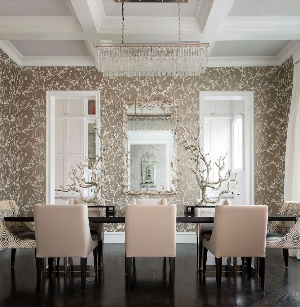 Chandeliers at Lowes with Mediterranean Dining Room Also Art Centerpiece Chandelier Coffered Ceiling Dining Chairs Dining Table Neutral Wallpaper