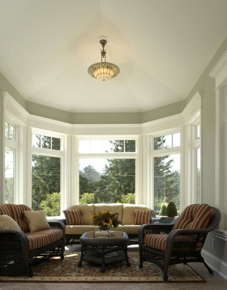 Chapter 11 Furniture   Traditional Sunroom Also Area Rug Baseboards Bay Window Bowl Chandelier Ceiling Lighting Floral Arrangement Patio Furniture Stripes Sunroom White Wood Wicker Furniture Wood Trim