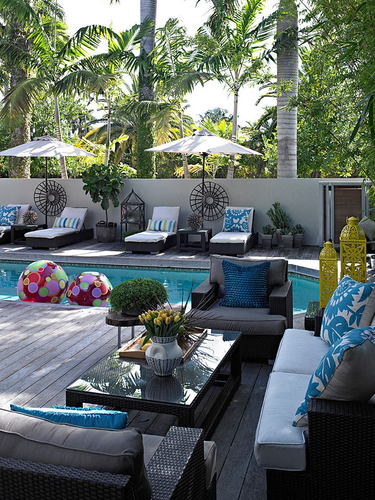 Chapter 11 Furniture with Traditional Pool  and Beach Balls Outdoor Furniture Outdoor Umbrella Palm Trees Tropical