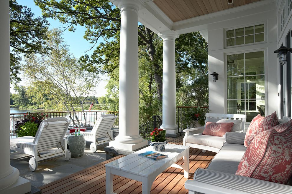 Chapter 11 Furniture with Victorian Porch  and Chaise Longue Chaise Lounge Clerestory Covered Porch Deck Lanterns Outdoor Cushions Outdoor Lighting Patio Furniture Tuscan Columns View Waterfront