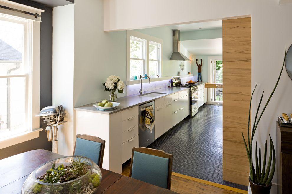 Cisco Flooring Supplies with Contemporary Kitchen  and Centerpiece Craftsman Kitchen Hardware Pocket Door Range Hood Rubber Floor Rubber Tile Sliding Door Terrarium White White Cabinets White Kitchen Wood