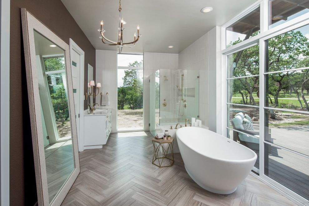 Cisco Flooring Supplies with Transitional Bathroom  and Full Size Mirror Geometric Side Table Glass Alcove Shower Glass Wall Glass Walls Herringbone Transom Windows