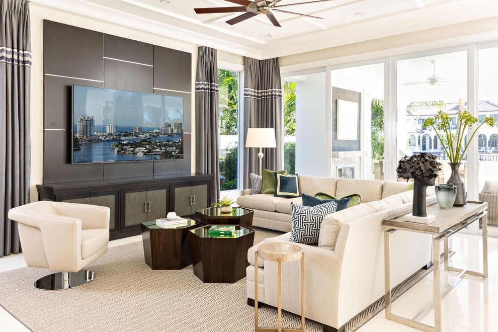 Clean House Tv Show   Transitional Family Room  and Area Rug Ceiling Fan Curtains Entertainment Center Family Room Glass Doors Paneled Wall Samsung 4k Side Tables Sofa Spectrum Technology
