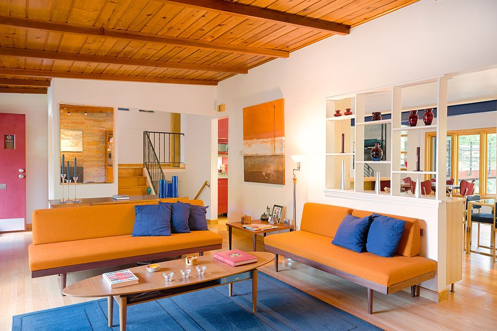 Colors That Go with Orange   Contemporary Living Room  and Blue Pillows Blue Rug Complementary Color Scheme Complementary Colors Elliptical Coffee Table Orange Art Orange Sofa Rustic Pine Shelf Decor Wall Cut Out Warm Colors Wood Ceiling