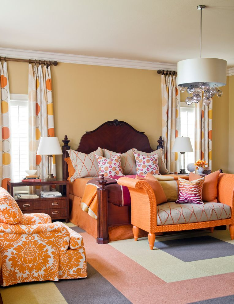 Colors That Go with Orange   Traditional Bedroom Also Beige Wall Colorful Bedroom Dark Brown Nightstand Dark Wood Bed Drum Pendant Light Orange Armchair Orange Bedding Orange Bedroom Bench Orange Curtains Orange Daybed Pink Bedding Polka Dot Curtains