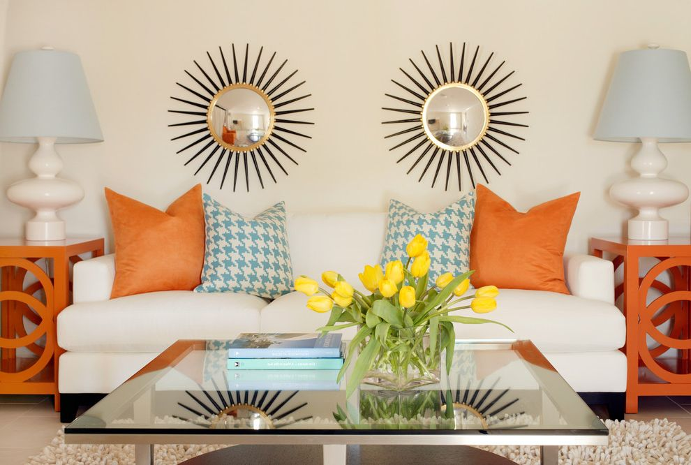Colors That Go with Orange   Tropical Living Room Also Decorative Pillows End Tables Floral Arrangement Glass Coffee Table Houndstooth Mid Century Modern Orange Side Tables Sunburst Mirror Symmetry Table Lamp Throw Pillows Tulips Wall Art Wall Decor
