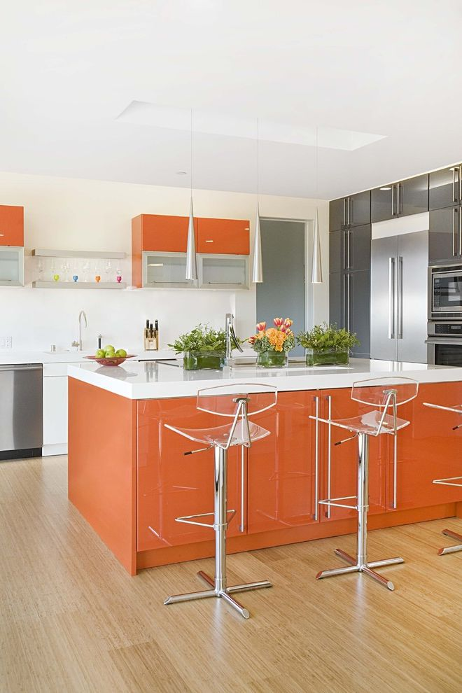 Colors That Go with Orange with Contemporary Kitchen Also Black Charcoal Gray Clear Bar Stools Lift Up Doors Light Hardwood Floor Mixed Color Cabinets Mixed Materials Orange Island Pendant Light Stainless Steel White Counter