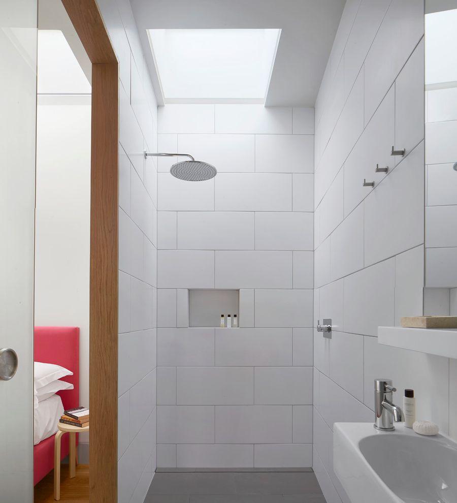 Commercial Grout Cleaner   Contemporary Bathroom  and en Suite Bathroom Ensuite Shower Design Shower Head Shower Skylight Walk in Shower White Bathroom Tile White Shower White Shower Tile