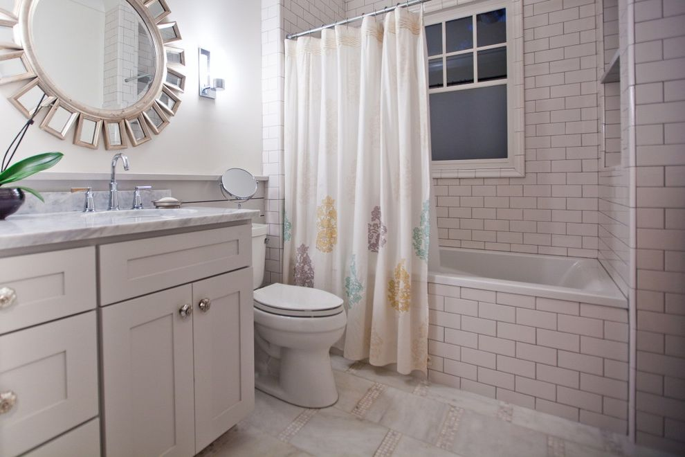 Commercial Grout Cleaner   Traditional Bathroom  and Bath Mirror Shower Curtain Stone Stone Countertop Subway Tile Tiled Floor Tiled Wall Tub Vanity White Vanity