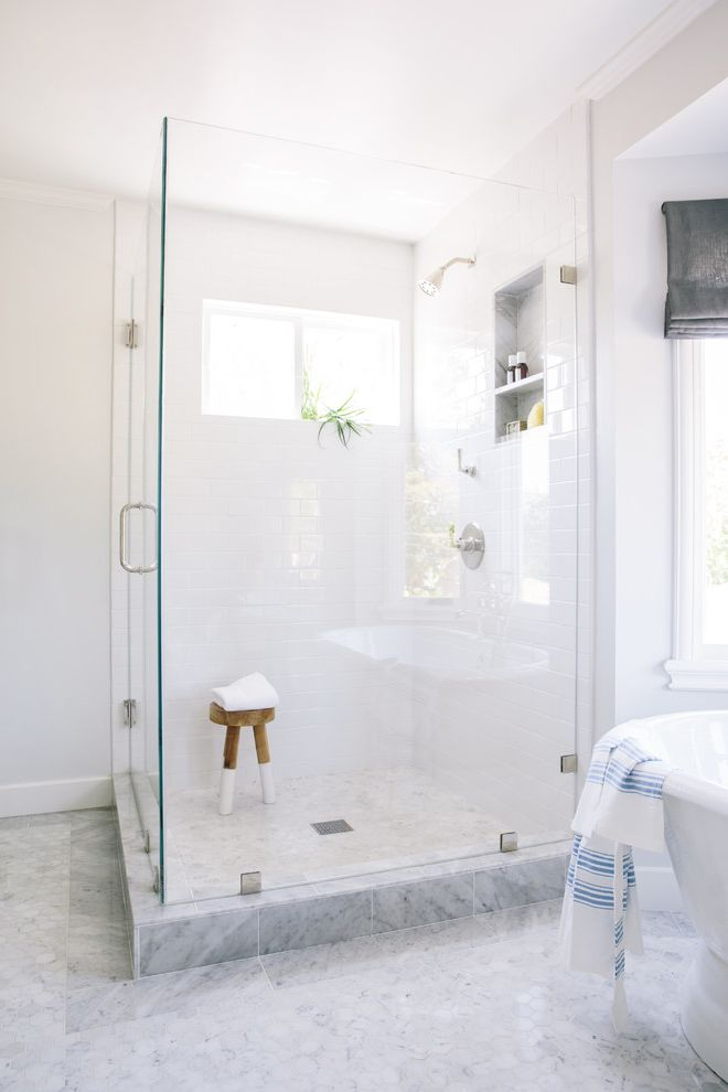 Commercial Grout Cleaner   Traditional Bathroom  and Carrara Marble Bathroom Hexagonal Tile Shower Niche Shower Stool Shower Window White Subway Tile
