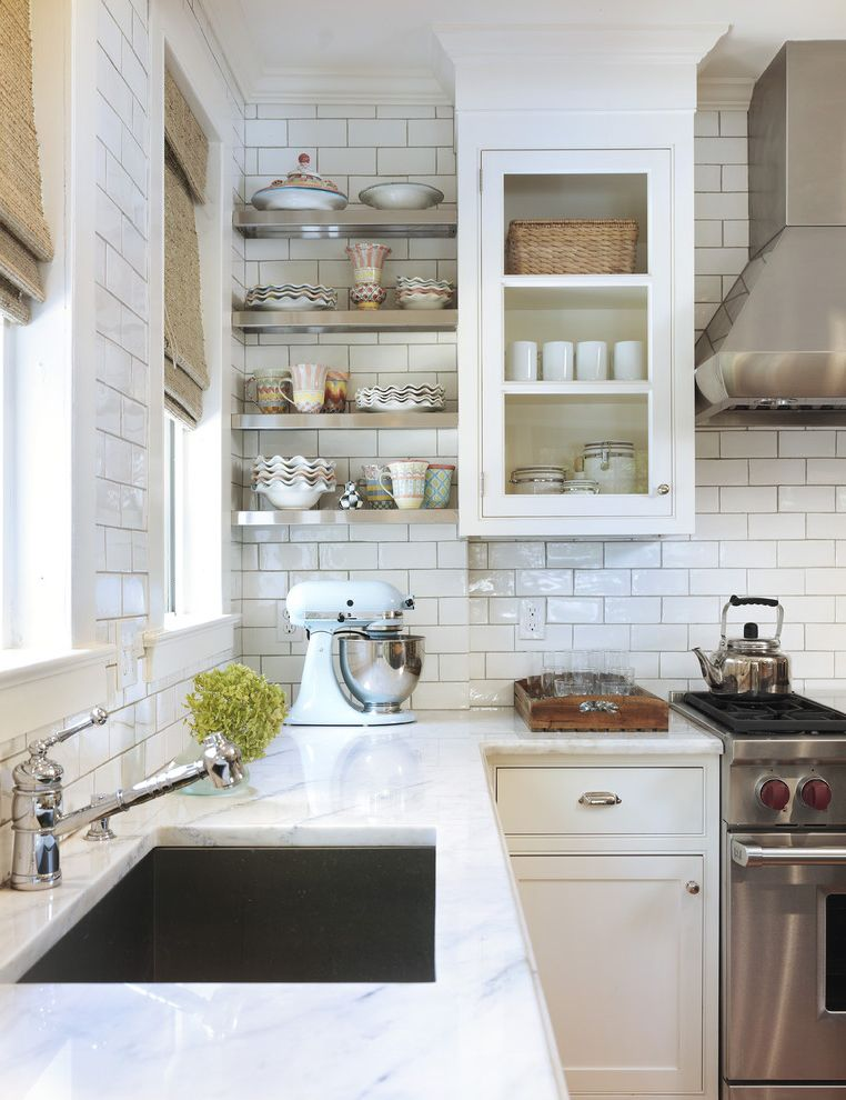 Commercial Grout Cleaner with Traditional Kitchen Also Burlap Counter Glass Glass Front Cabinets Range Hood Roman Shades Shades Shelves Sink Stainless Steel Appliances Storage Tile Tile Kitchen Backsplash White White Kitchen Window Treatments