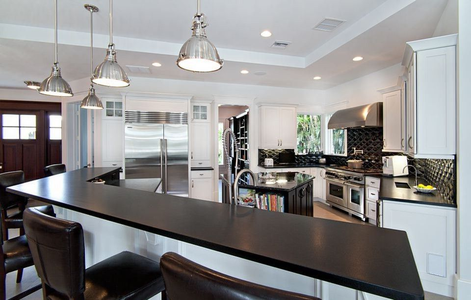 Corian vs Granite   Contemporary Kitchen  and Absolute Black Absolute Black Granite Absolute Black Granite Countertop Black Granite Black Granite Countertop