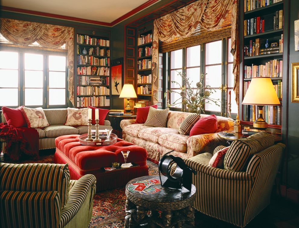 Cosi Chicago   Eclectic Family Room  and Books Built in Bookshelves Comfortable Cozy Library Drapes Eclectic Fringe Great Room Library Ottoman Overstuffed Red Red Ottoman Sofas Stripes Tufted Ottoman