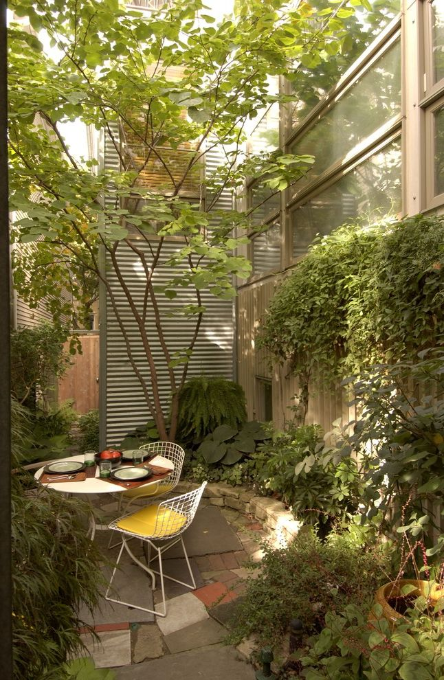 Cosi Chicago with Modern Landscape  and Bertoia Foliage Garden Landscape Outdoor Dining Patio Yard