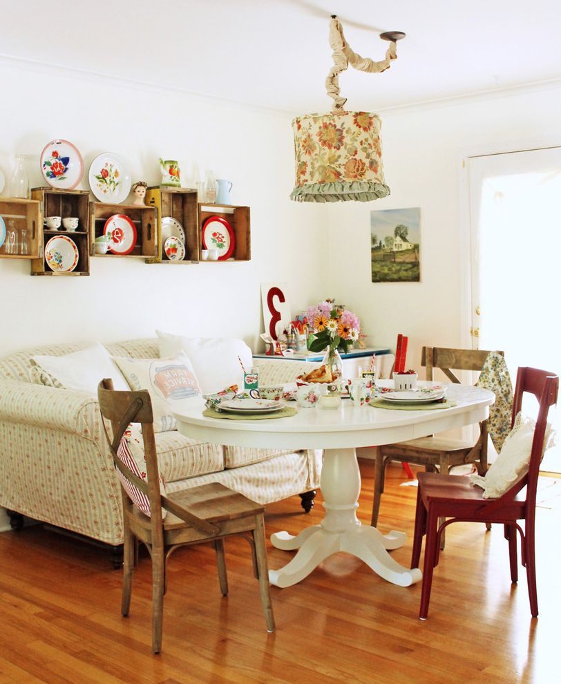 Crate and Barrel Chicago with Shabby Chic Style Dining Room Also Centerpiece Cottage Country Floral Pendant Floral Shade Glass Doors Plates Round Table Sofa Tablescape Vintage Crates White Table X Back Chairs