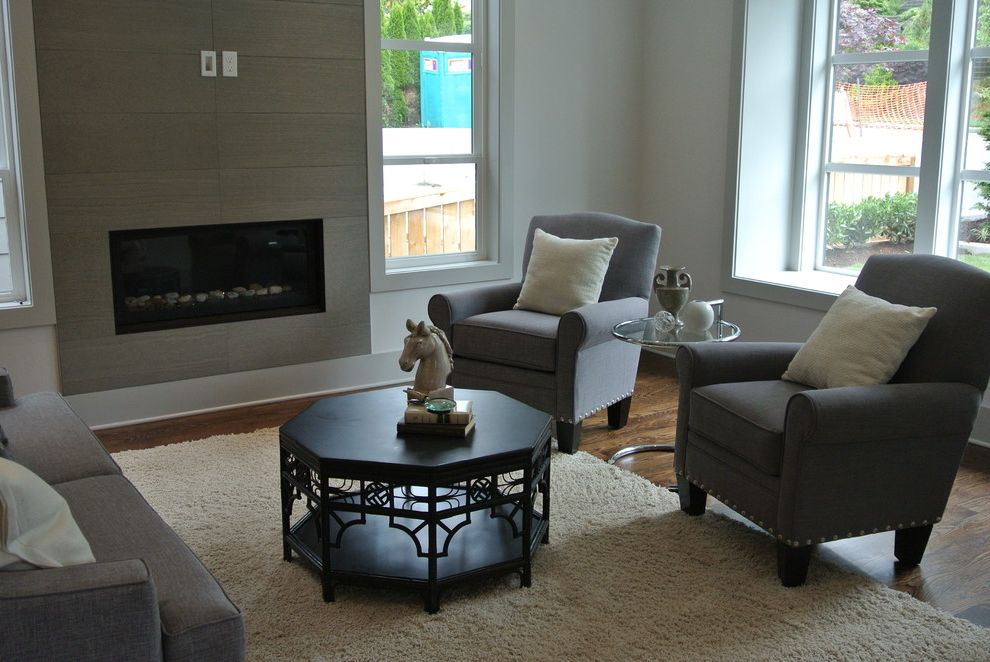 Dania Seattle   Contemporary Living Room  and Black Asian Coffee Table Dania Glass and Chrome Side Table Shag Rug Staging