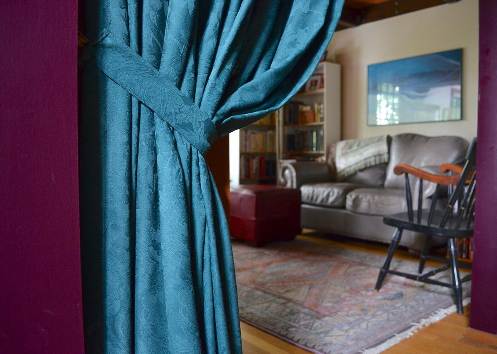 Dania Seattle   Traditional Family Room  and Chair Curtain Den Divider Family Georgia Okeeffe Leather Love Print Purple Room Seat Teal Wall