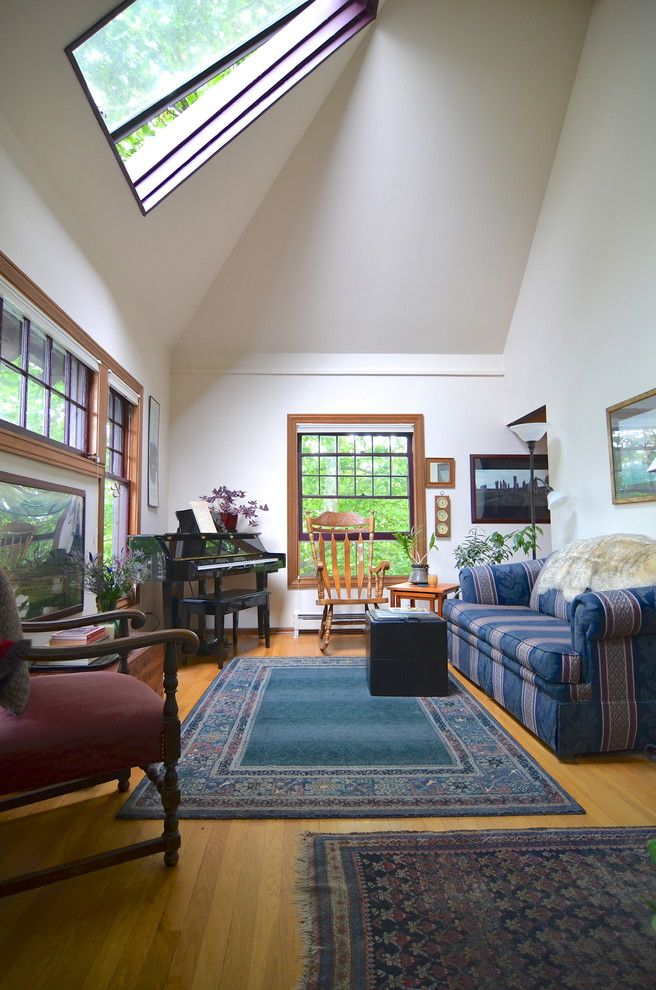 Dania Seattle with Traditional Living Room  and Craftsman House Plant Piano Rocking Chair Rug Seattle Vaulted Ceiling Windows