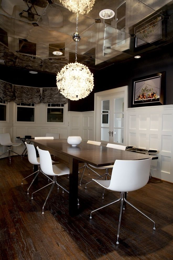 Derr Flooring   Contemporary Dining Room Also Half Coffered Walls Hanging Light Fixture Mirrored Ceiling White Coffered Walls White Wainscoting White Window Trim