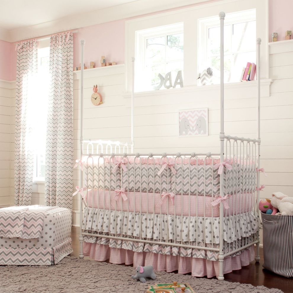 Diy Natural Bedding   Traditional Nursery  and Bedskirt Bows Chevron Chevron Print Classic Dots Dust Ruffle Girl Girls Room Girly Gray Metal Crib Natural Lighting New Arrivals Nursery Panelled Walls Pink Pink Bedding Polka Dots Whimsical White Crib