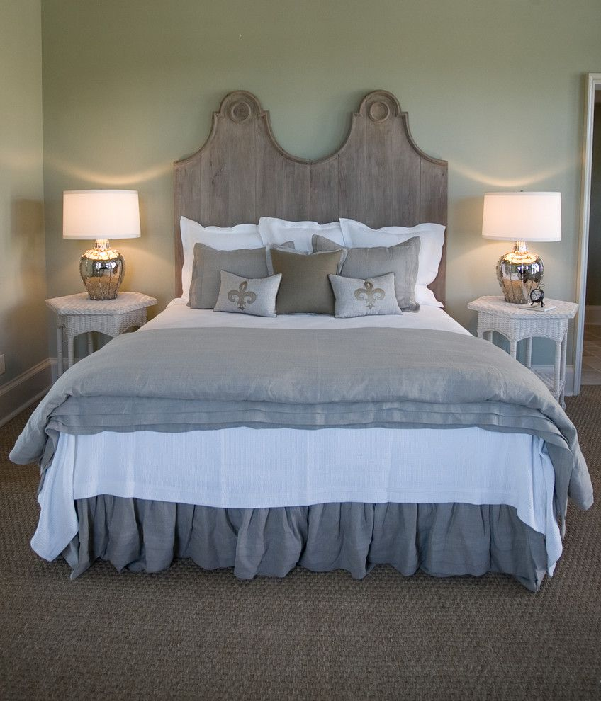 Diy Natural Bedding with Beach Style Bedroom Also King Headboard Light Green Walls Master Bedroom Reclaimed Headboard Ruffled Bedskirt Wall to Wall Seagrass White and Grey Bed Wicker Tables Wooden Headboard