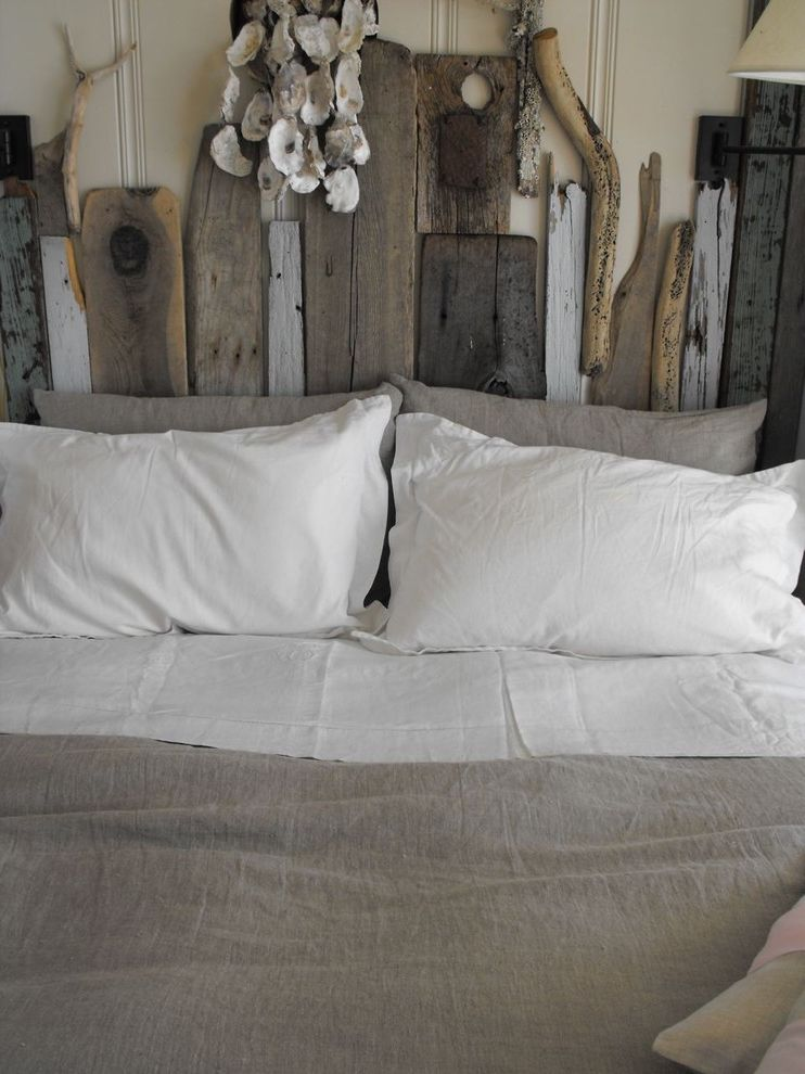 Diy Natural Bedding with Rustic Bedroom Also Diy Driftwood Grey Duvet Linen Minimal Neutral Colors Reclaimed Furniture Rustic Salvaged Wood Headboard