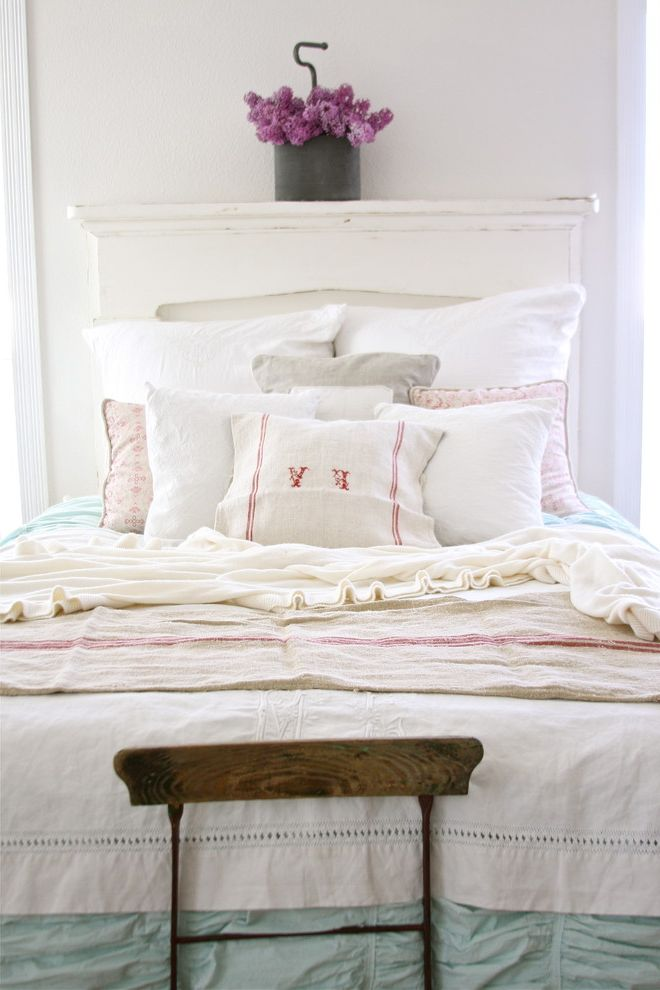 Diy Natural Bedding with Shabby Chic Style Bedroom  and Bedskirt Cottage Dust Ruffle Monogram Reclaimed Furniture Rustic Shabby Chic White Bedding White Wood Wood Headboard