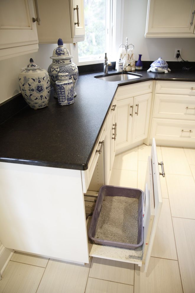 Do Male Cats Spray with Traditional Laundry Room Also Absolute Black Granite Black Granite Cat Box Custom Cat Box Elmwood Kitchens Laundry Room White Cabinets White Laundry Room