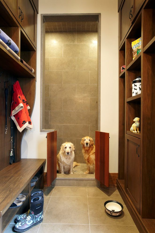 Dog Gates for House with Rustic Entry  and Built in Shelves Built in Storage Custom Dog Shower Leash Storage Mudroom Shoe Storage Storage Cubbies Tile Floor Towel Storage