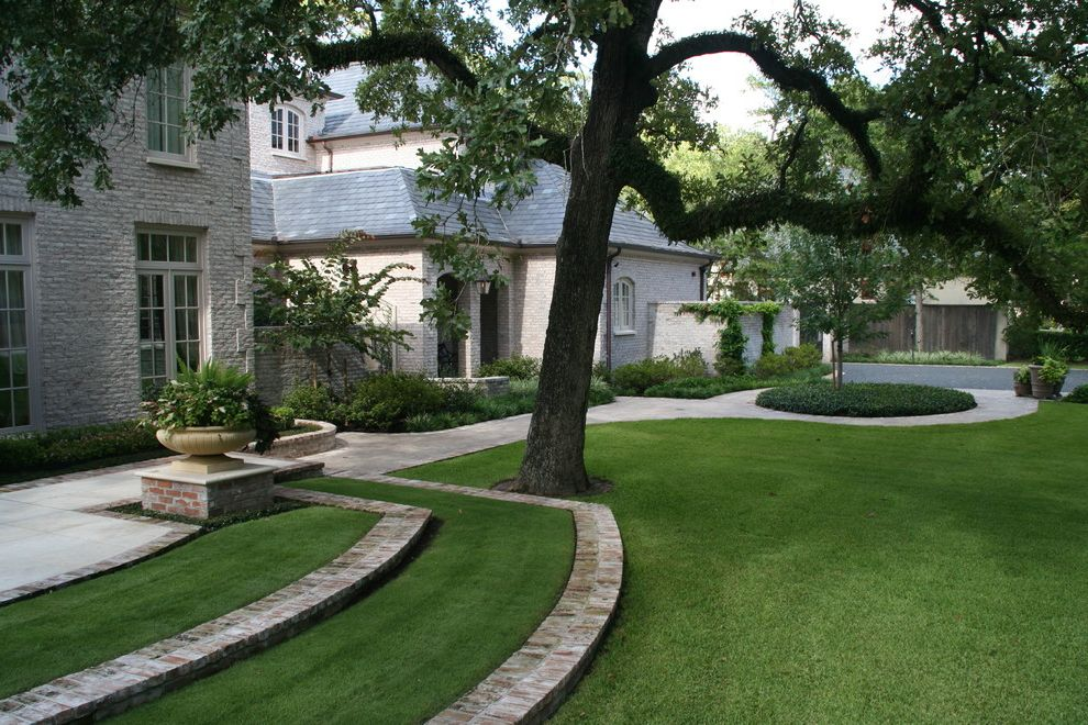 Down to Earth Lawn Care   Traditional Landscape Also Brick Paving Brick Wall Casement Windows Container Plants Garden Urns Grass Lawn Path Planters Potted Plants Stairs Steps Turf Walkway