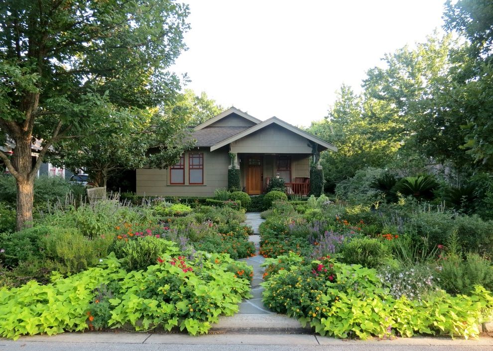 Down to Earth Lawn Care with Craftsman Landscape  and Butterfly Garden Cottage Covered Entry Front Yard Garden Humming Bird Lush Path Unique Windows Wildlife Habitat Wood Entry Xeriscape