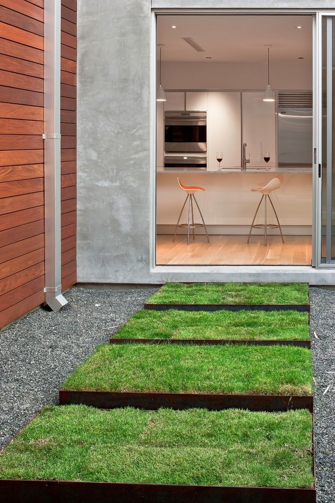 Down to Earth Lawn Care with Modern Landscape  and Grass Steps Grass Walkway Gravel Low Maintenance Landscape Metal Edging Minimalist Modern Landscape Design Path Sliding Glass Doors Walkway