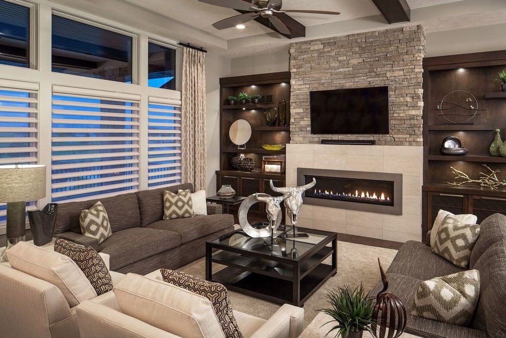 Electricians Lincoln Ne   Contemporary Living Room  and Fireplaces Parade Homes