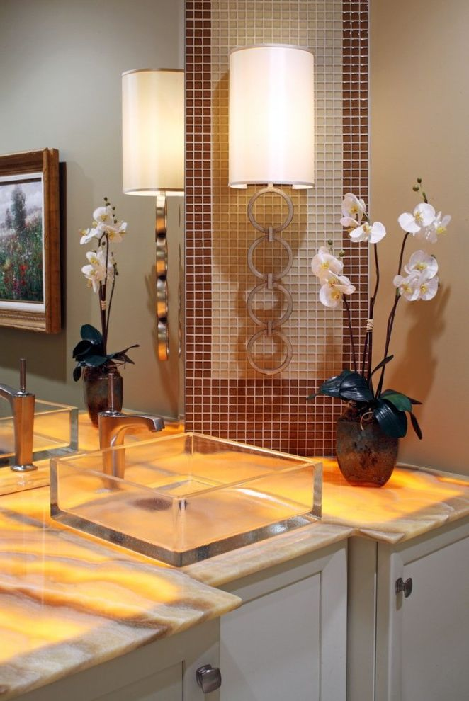 Electricians Lincoln Ne with Contemporary Powder Room  and Bathroom Countertop Bathroom Lighting Cabinets Framed Art Glass Sink Lighted Top Mosaic Tile Onyx Top Painted Walls Sconce