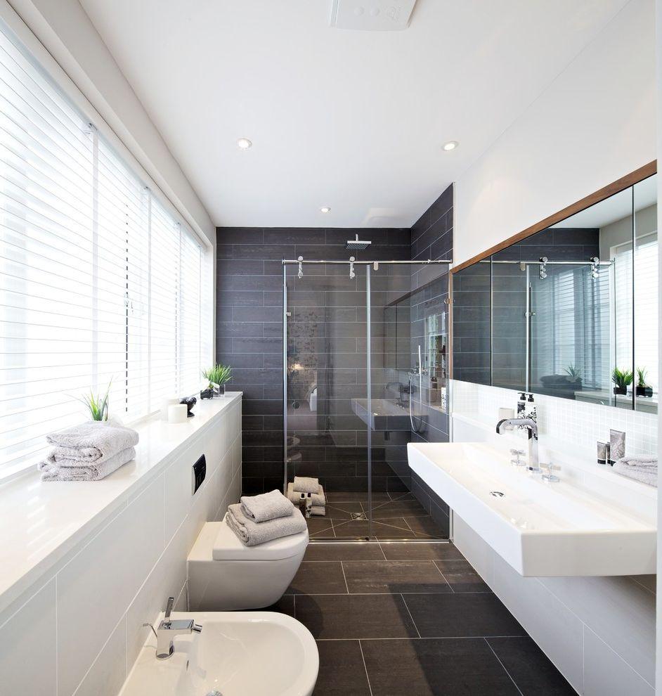 Enclosed Shower Units   Contemporary Bathroom  and Bathroom Blinds Bathroom Tile Bathrooms Black and White Blinds Dark Gray Tile Floating Sink Shower Room Shower Tile Sink Venetian Blinds Walk in Shower Wet Room Wetroom