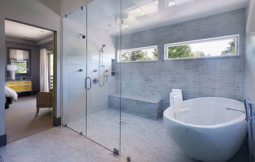 Enclosed Shower Units with Contemporary Bathroom  and Double Shower en Suite Rain Shower Head Shower Seat White Bathroom Windows