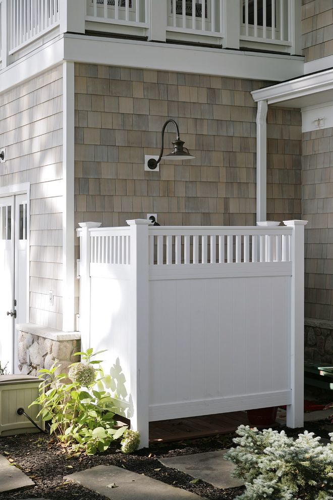 Enclosed Shower Units with Traditional Patio Also Barn Light Cape Cod Style Cedar Shake Siding Exterior Shower Outdoor Lighting Outdoor Shower Privacy Screen Shingle Siding Shower Stepping Stones Western Red Cedar Siding White Trim