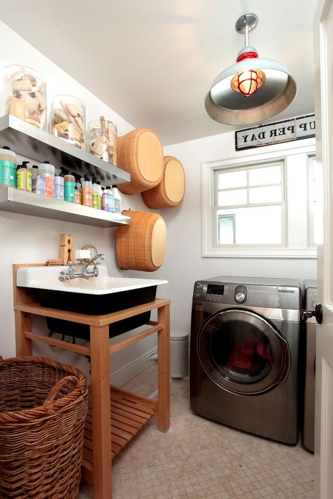 Fabuloso Cleaner Uses   Eclectic Laundry Room Also Baskets Collection Floating Shelves Pendant Lighting Stainless Steel Appliances Storage Tile Flooring Utility Tub Wall Decor Wall Sign Wicker Hamper