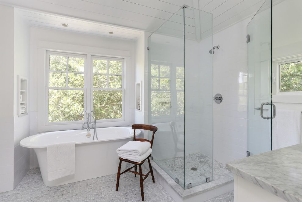 Fabuloso Cleaner Uses   Transitional Bathroom Also Clean Freestanding Tub Glass Shower Honeycomb Tile Floor Niche Simple White Window Wood Chair